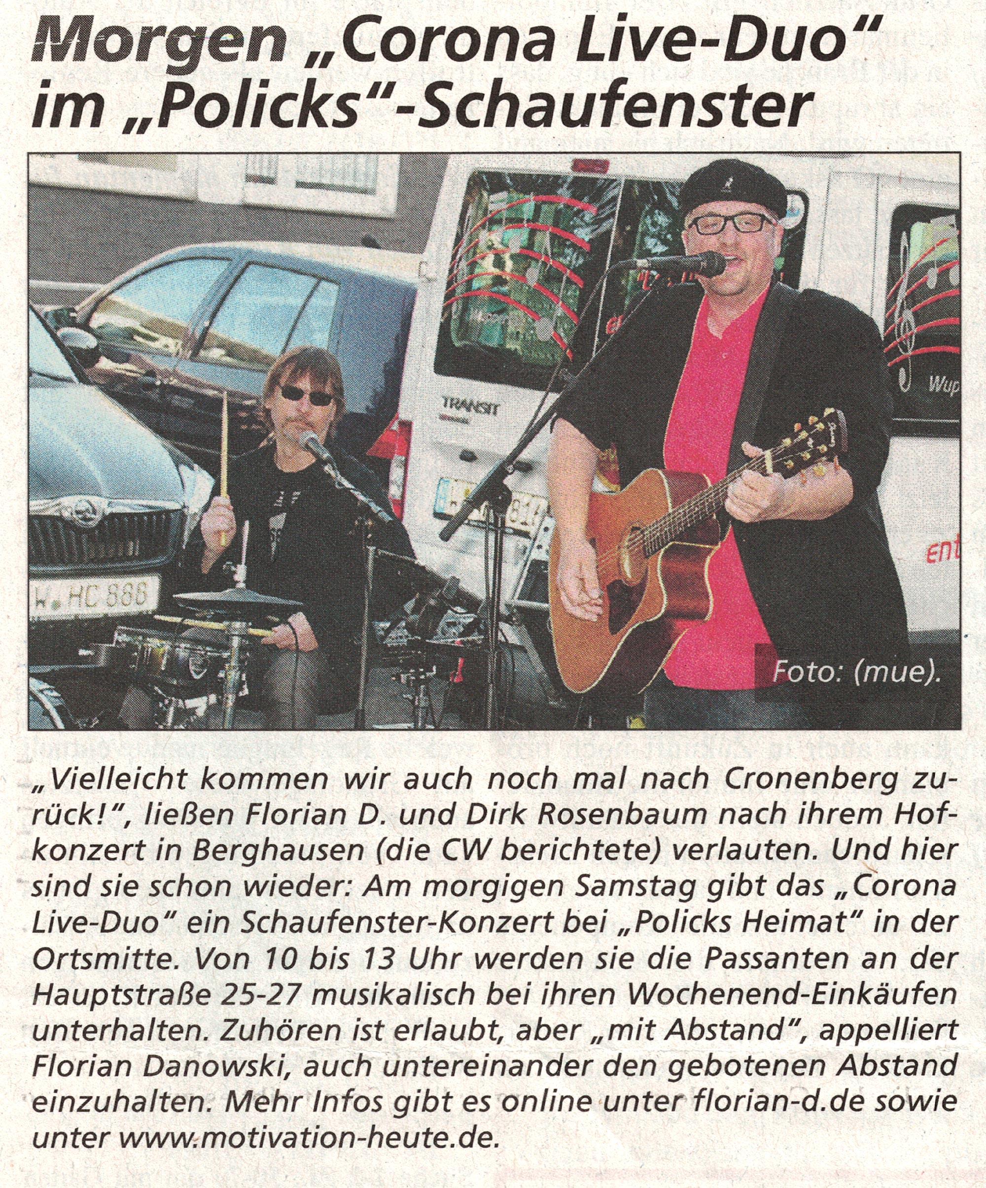 Motivation-heute - Corona Band - Cronenberger Woche 08.05.20