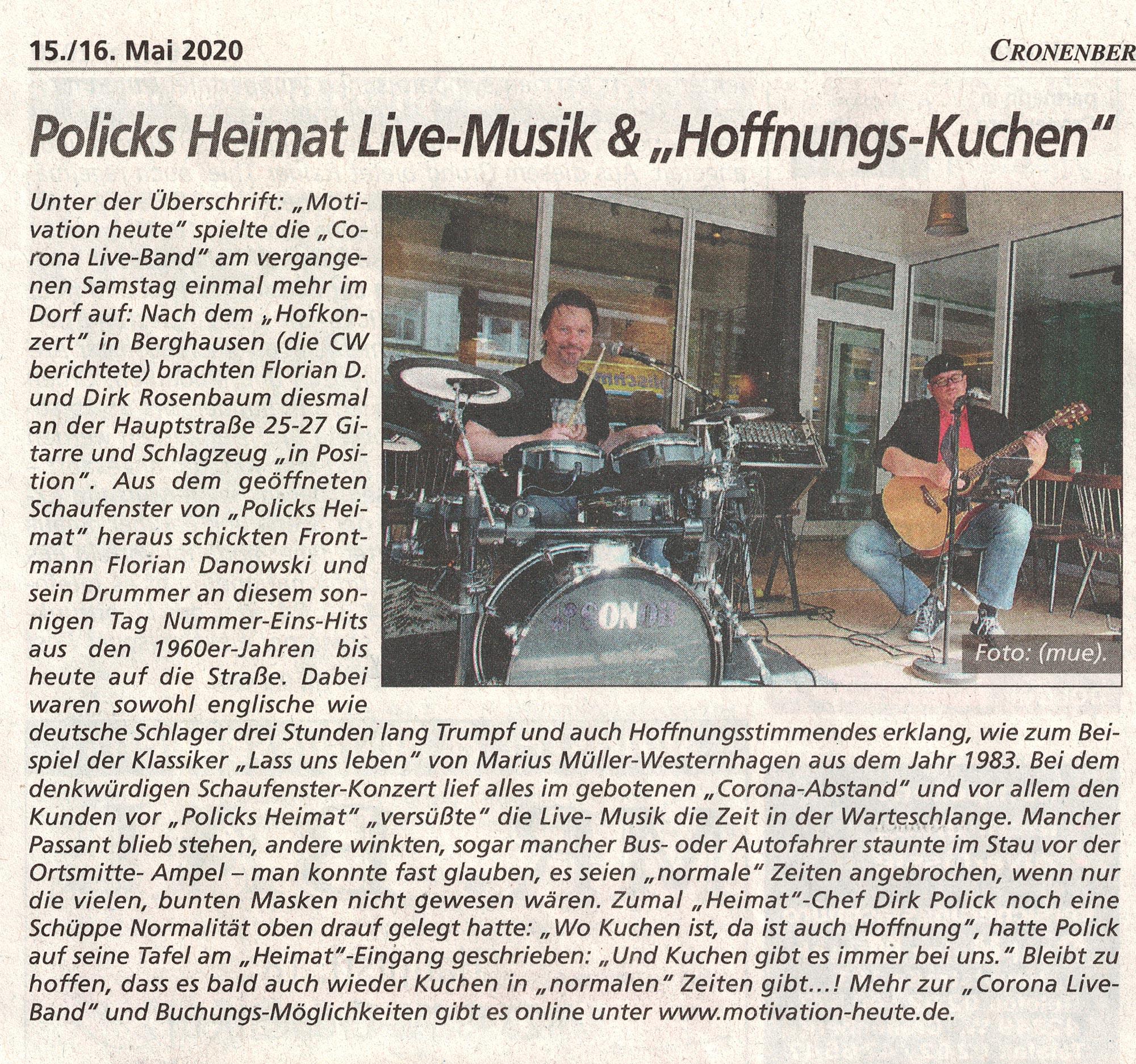 Motivation-heute - Corona Band - Cronenberger Woche 16.05.20