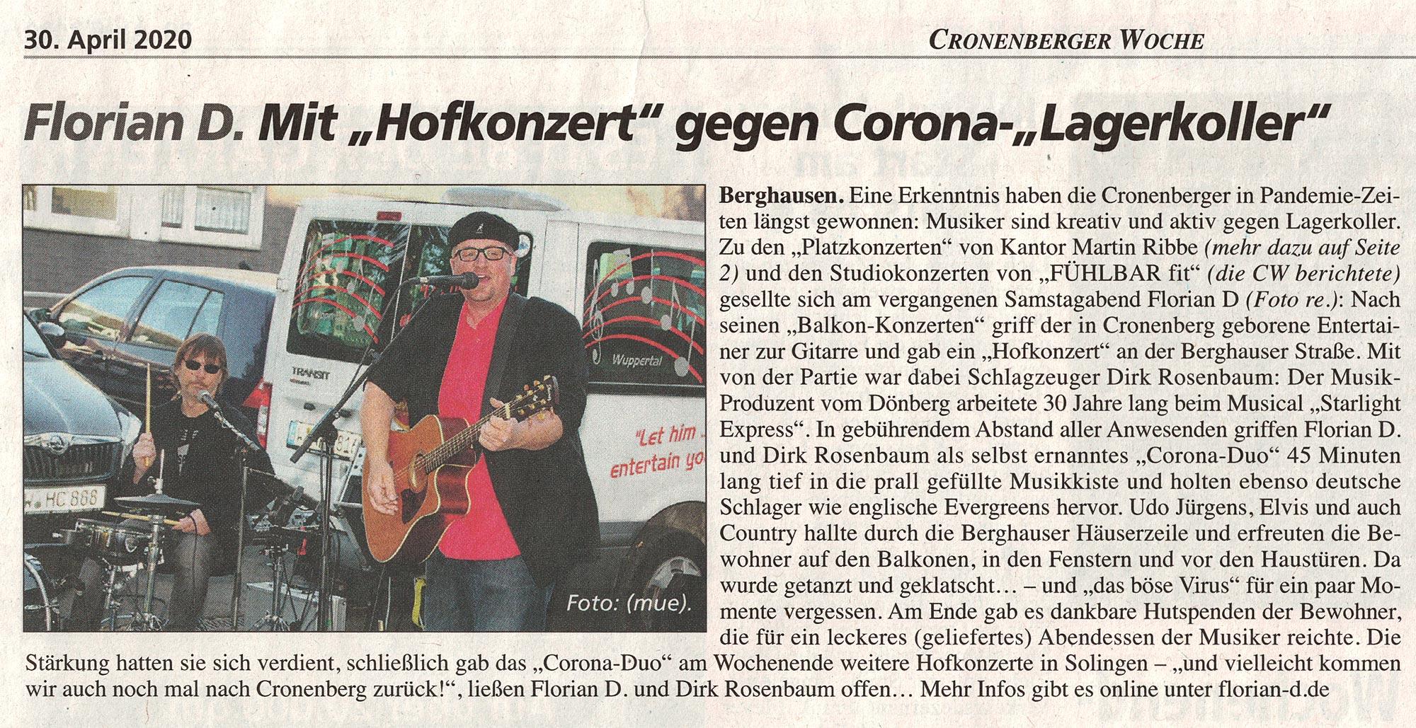 Motivation-heute - Corona Band - Cronenberger Woche 30.04.20